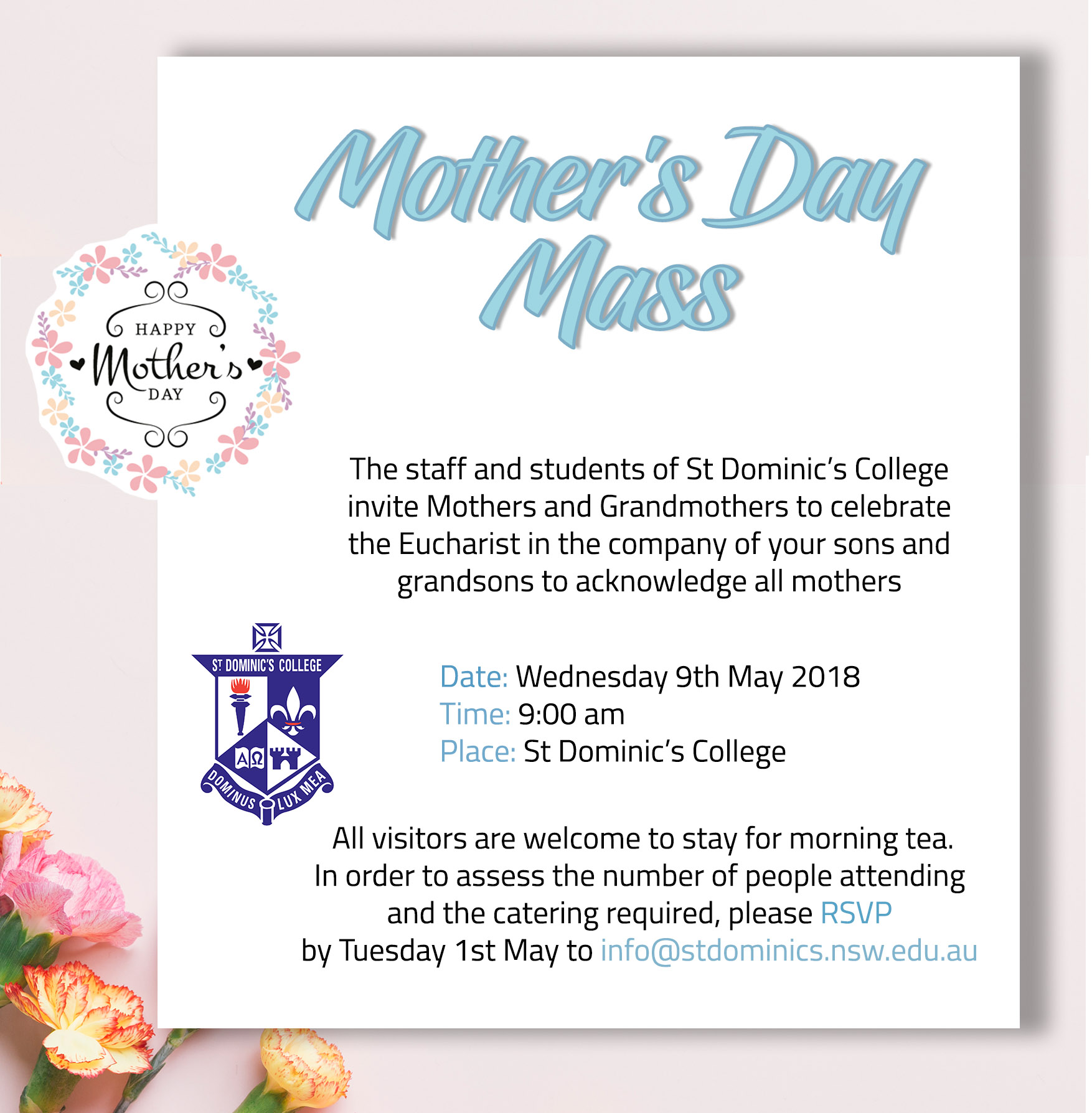 mother s day mass invitation st dominic s college