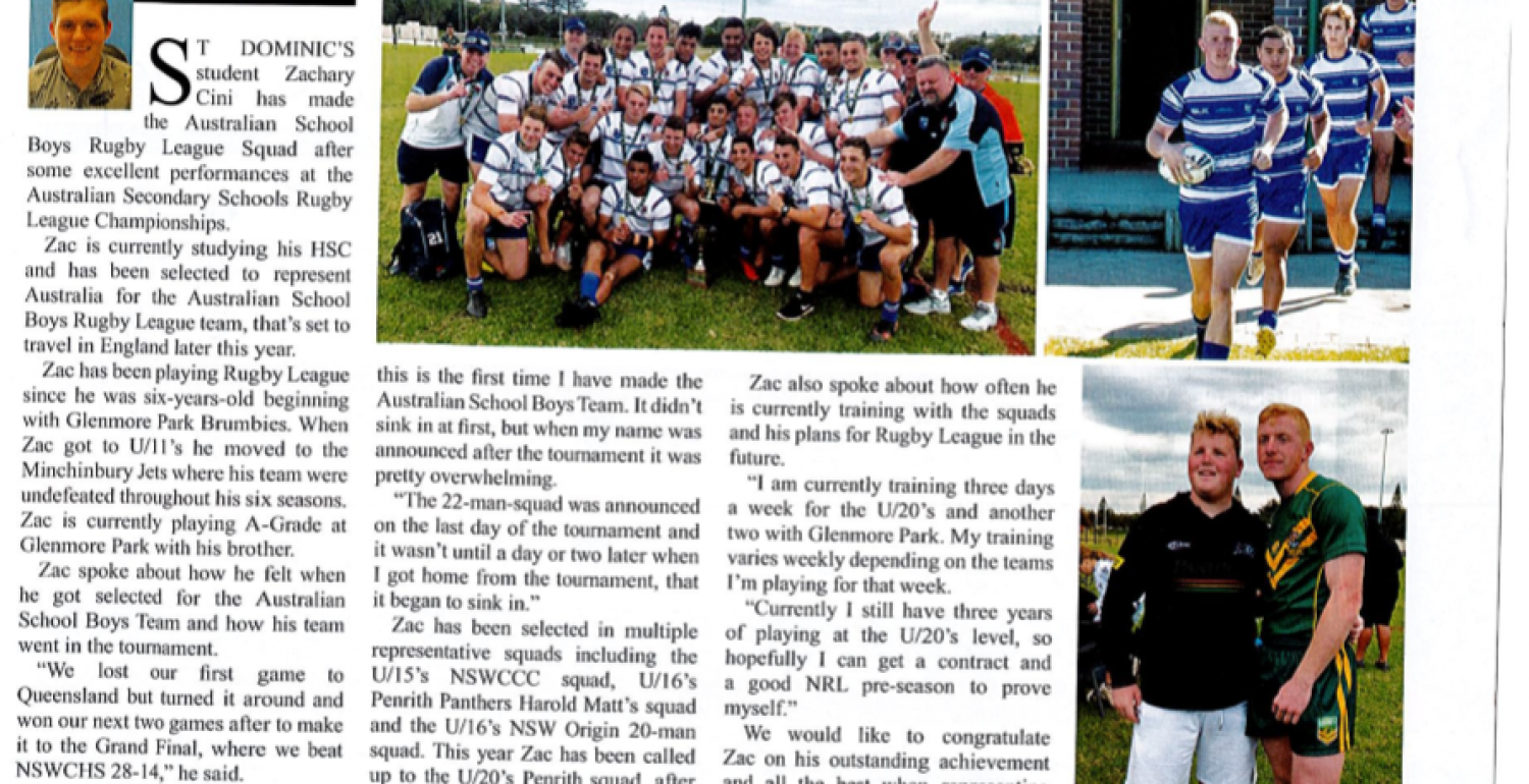 Zac Cini competes in the Australian Secondary Schools Rugby League Championships